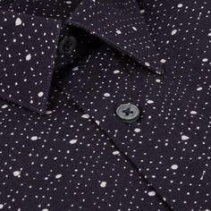 Paul Smith Men's Navy 'Zydeco' Print Cotton Shirt