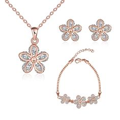 Fashion 18K Bling Bling Rhinestone Inlaid Anti Allergy Zircon Necklace Set