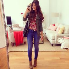 Mimi Ikonn : Fall Outfit! Skinny Jeans + Floral Top + Green Jacket + Booties