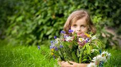 Girl Holding Flower Bouquet