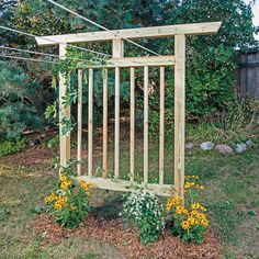 Use these garden trellis plans to build a clothesline trellis that serves double duty, or skip the clothesline and use your trellis to shade a comfortable garden bench.