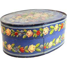 Gorgeous antique painted & decorated large bent wood bride's box