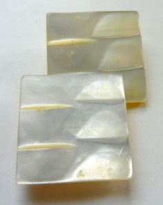 Pair Antique Victorian Mother of Pearl Buttons Square with Carved Tops