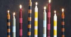 Liked on Pinterest: Make these striped candlesticks