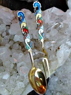 Balle Norway Sterling Enamel 4 Inch Serving Fork and Spoon Set, Vibrant Multicolored Enamels, Fiddlehead Fern Pattern, Gilt Finish, Gorgeous by postGingerbread on Etsy
