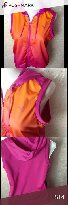 Puma Hooded Workout Vest Striking Ombre with hot pink and orange.  Full zip.  Excellent pre-loved condition. Puma Jackets & Coats Vests