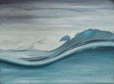 Бегущая волна Бегущая волна с барашками пены на фоне пасмурного серого неба. Картина написана в холодных сине -   серых тонах масляными красками (холст на картоне).