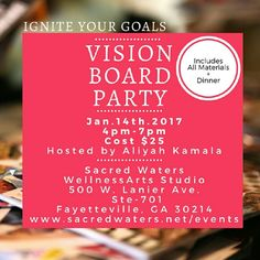 Vision Board Party 2017! - It's on and popping and we're well ahead of the curve and looking for you to join us at the Vision Board Party of the year! It will be fun and memorable as we're led by our guest host Dr. Aliyah Kamala, Author and Doctor of Naturopathy. She will guide participants to ignite their goals using vision boards, the power of affirmations and sisterhood. Register online, spaces our limited!