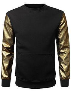 URBANCREWS Mens Hipster Hip Hop Alligator PU Sleeves Sweatshirt Pullover, http://www.amazon.com/dp/B00QUCQN8K/ref=cm_sw_r_pi_awdm_tf7Uvb1B3VAMN