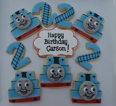 Thomas the train birthday cookies Thomas Birthday Parties, Thomas The Train Birthday Party, Trains Birthday Party, Train Party, 3rd Birthday, Birthday Ideas, Birthday Cake Decorating, Cookie Decorating, Cartoon Cookie