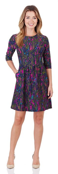 Brynn Fit & Flare Dress in Feathered Abstract Navy - FINAL SALE