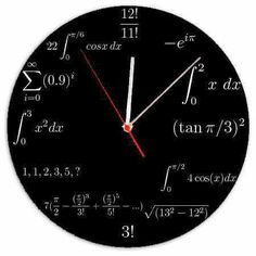 Engineer's Clock, this is so geeky but it's awesome! Math Clock, Wall Watch, Physics And Mathematics, Engineering Science, Math Formulas, Love Math, Math Humor, Diy Clock, Wood Clocks