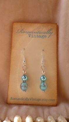 Floral Flirty Fun Beaded Earrings Blue by RomanticallyVintage, $11.50