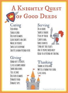 FREE PRINTABLE: Knightly Good Deeds List *Great post about teaching kids kindness