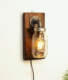 Mason Rustic Wall Lamp - Wall Lamps & Sconces - Industrial sconce light lamp-Mason wall light lamp-Steampunk wall light lamp-Edison bulb sconce-Bedside wall lamp-Rustic modern lamp light Mason Sconce light Details: -12″ tall by 5.5″across -8ft cord w/plug and clicker on/off included. -30 watt Radio Edison Bulb... #Bedroom #Bedside #Diy #Edison #Farmhouse #Handmade #Industrial #Lightbulb #Masonjar #Metal #Modern #Rustic #Sconce #Steampunk #Vintage #Wood