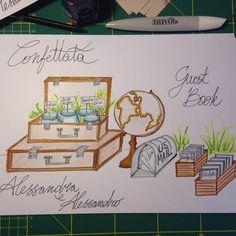 Guestbook e confettata - progettazione // matrimonio tema Viaggio, stile Vintage