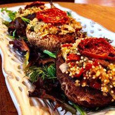 Veggie Burger & Quinoa Stuffed Portobello Mushrooms #MeatlessMonday