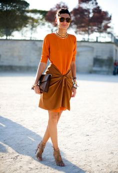 orange dress @roressclothes closet ideas #women fashion outfit #clothing style apparel