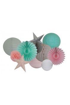 Etoile Papier Cartonné 10 coloris - Boule Lanterne Lampions Papier Pompons - Déco Extérieur Mariage Cérémonie-Anniversaire