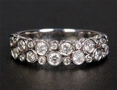Engagement Band Bezel Set Diamond Bubble Motif Wedding Band or Ring - Solid Gold All Sizes Available Width: Accent Stones:Natural White Diamonds Carat Weight: Cut: Round Brilliant Clarity: SI Color: H Eternity Ring Diamond, Diamond Bands, Solitaire Diamond, Bling Bling, Right Hand Rings, Anniversary Bands, Schmuck Design, Wedding Bands, Gold Wedding