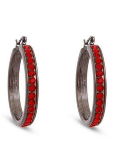 Erica Lyons  Hematite-Tone Red  Black Hoop Pierced Earrings