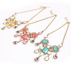 Fashion Chic Irregular Candy Color Jewelry Set Inlaid Resin and Drill Exaggeration Earrings Necklace