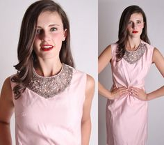Couture 1960s Pink Beaded Bib Collar Cocktail Dress / by aiseirigh, $222.00
