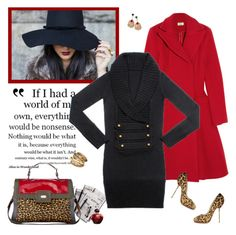 Leopard Black&Red by minni on Polyvore featuring polyvore, fashion, style, Issa, Christian Louboutin, Miss Selfridge, Christian Dior, ESCADA, MATINA AMANITA, OVS industry, 7 For All Mankind, clothing, leopard print, heels, text, wool, perfume, christian louboutin, coat, escada, black, dress, newspaper, red, bag, shoes, earrings, gold, dior, oviesse and pumps