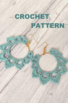 PDF Tutorial Crochet Pattern, Boho earring pattern, crochet hoop Earrings Pattern Thread Crochet, Love Crochet, Diy Crochet, Crochet Crafts, Crochet Flowers, Crochet Hooks, Tutorial Crochet, Crochet Jewelry Patterns, Crochet Earrings Pattern