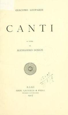 Giacomo Leopardi - Canti