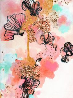 Golden Moments Floral by Sonal Nathwani on Artfully Walls