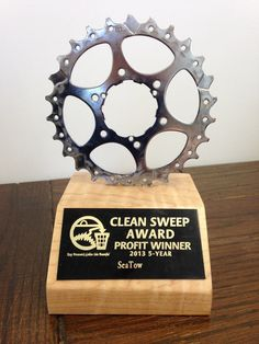 KBGIB-made trophy, made from bicycle sprocket from Monkeywrench Bicycles, scrap high-quality wood from GulfStream.  http://www.kbgib.com/