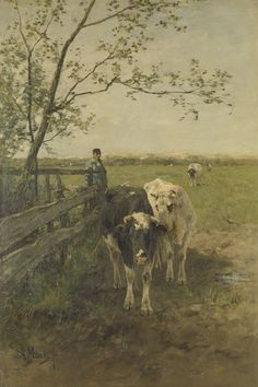 Exceptional art prints of The Milk Bend by Anton Mauve. Pick the size, media & framing for your style. Anton, Landscape Art, Landscape Paintings, Mauve, Gauguin, Mary Cassatt, Cow Painting, Cow Art, Dutch Painters