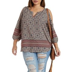 Charlotte Russe Plus Size Multi Border Print Cold Shoulder Top by... ($30) ❤ liked on Polyvore featuring plus size fashion, plus size clothing, plus size tops, multi, charlotte russe, cutout tops, cut out tops, plus size 3/4 sleeve tops and 3/4 length sleeve tops