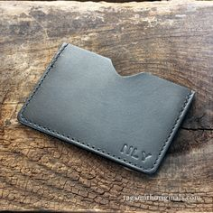 Personalized leather wallet. The perfect graduation or father's day gift. Handmade by Tagsmith.