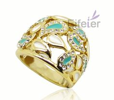 blue drop oil craft drop shape surround by shiny crystal decorate gold plated promise ring