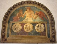 Andrea del Castagno, c.1420-1457, Italian, Christ in the Sepulchre with Two Angels, 1447.  Fresco.  Sant'Apollonia, Florence.  Early Renaissance.