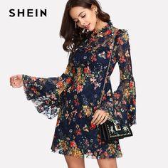 9bf9bfa153a2 Flower Print Swing A Line Summer Dress Long Sleeve Spring Multicolor Floral  Calico Print Keyhole Back Bell Sleeve Dress