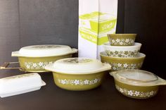 Vintage Pyrex Spring Blossom Set: One Quart Oval Casserole and Three Piece Nesting Bowls by TTLGFurnishings on Etsy https://www.etsy.com/listing/217482201/vintage-pyrex-spring-blossom-set-one