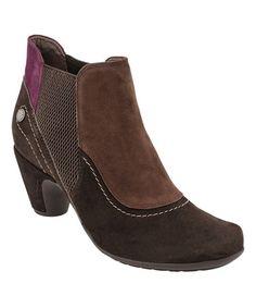 This Dark Brown & Purple Genoa Suede Bootie is perfect! #zulilyfinds