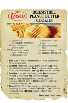 Rich Pecan Pie Recipe from Log Cabin Syrup was Clipped from a Magazine. Crisco Cookies, Peanut Butter Cookie Recipe, Candy Cookies, Peanut Butter Recipes, Cookie Desserts, Yummy Cookies, Cupcake Cookies, Cookie Recipes, Dessert Recipes
