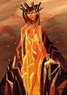 Pele Volcano goddess for SketchDaily . Florianpichon.tumblr.com