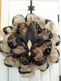 Saints Burlap wreath by SouthernHomeWreaths on Etsy, $55.00