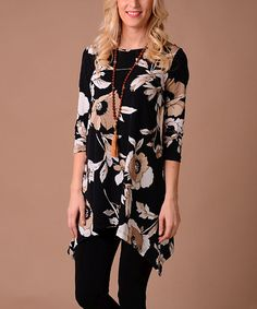 Another great find on #zulily! Black & Beige Floral Sidetail Tunic #zulilyfinds