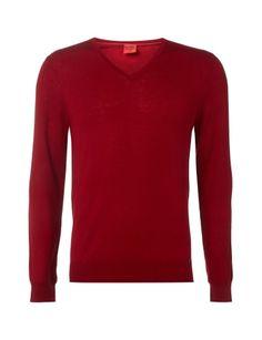 OLYMP-LEVEL-5 Body Fit Pullover aus Schurwoll-Seide-Mix in Rot online kaufen (9530621)   P&C Online Shop