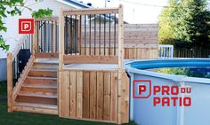 Design Ideas For Your Deck Backyard Walkway, Above Ground Pool Landscaping, Above Ground Pool Decks, Small Backyard Pools, Backyard Pool Designs, Swimming Pools Backyard, Ground Pools, Small Pools, Backyard Ideas