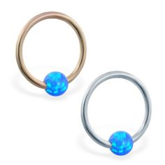 real gold captive bead ring with blue opal ball Helix Piercing Jewelry, Daith Piercing, Piercings, Opal Color, Beaded Rings, Blue Opal, Body Jewelry, Solid Gold, Gems
