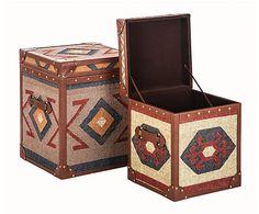 Set de 2 baúles en DM y lana de kilim I – multicolor