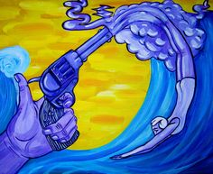 """Watergun"" 18""x24"" acrylic painting Paintings, Artwork, Work Of Art, Painting Art, Painting, Painted Canvas, Drawings, Resim"