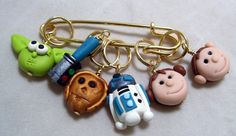 Stitch Markers STAR MOVIE inspired  for Knit or Crochet set of 6 clone wars luke yoda R2D2